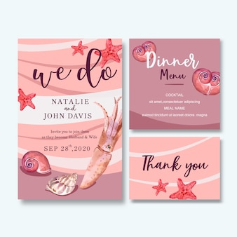 シーライフテーマ、ピンクのパステル背景イラストの結婚式招待状水彩