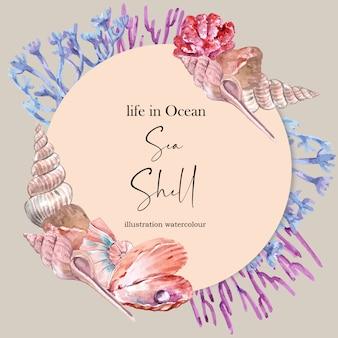 貝殻やサンゴのコンセプト、鮮やかな色の図テンプレートと花輪