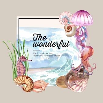 海の動物の概念、カラフルなイラストテンプレートと花輪水彩