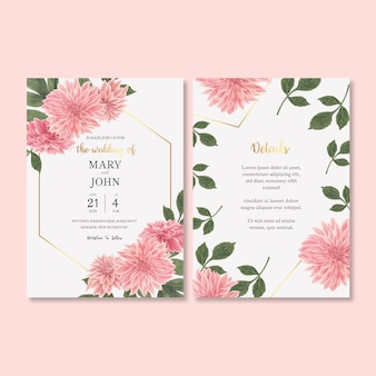 Приглашение на свадьбу с романтической листвой