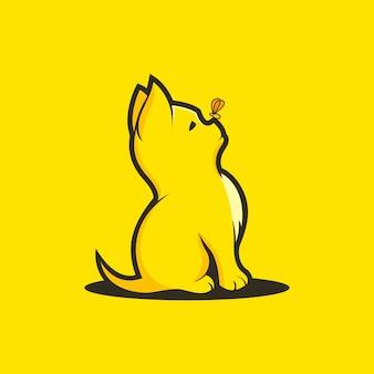Шаблон логотипа кошка-бабочка