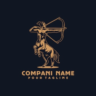 馬の戦士ベクトルのロゴのテンプレート