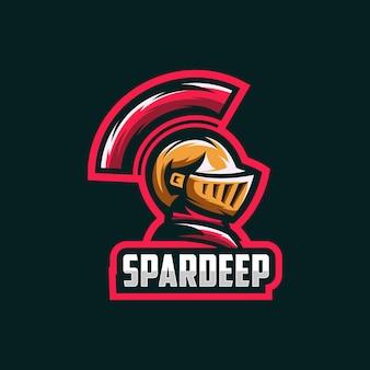 スパルタ怒っているロゴのテンプレートベクトル