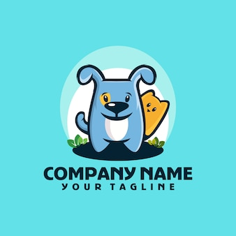 Собака милый логотип шаблон вектор