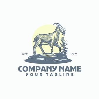 雄ヤギのロゴのテンプレートベクトル
