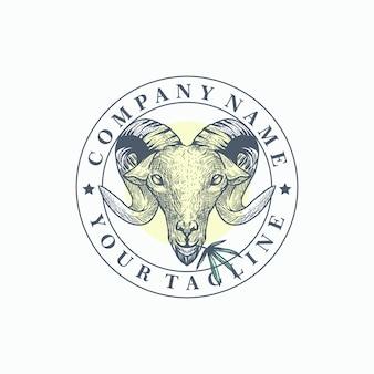 マリファナヤギのロゴのテンプレートベクトル