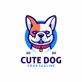 Шаблон логотипа симпатичная собака