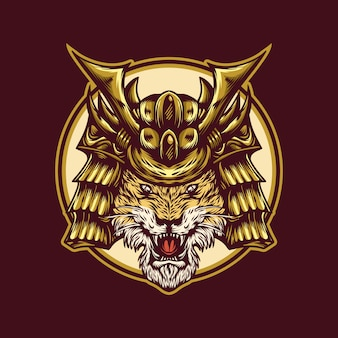 虎の戦士のロゴのテンプレート