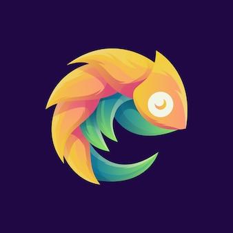 カラフルな素晴らしいカメレオンのロゴ