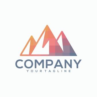山の色の抽象的なロゴ