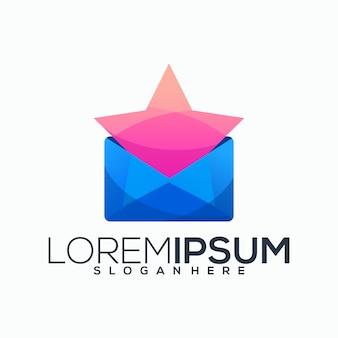 封筒と星の創造的なロゴ