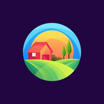 Красочный шаблон логотипа сельского хозяйства