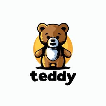 Шаблон логотипа милый плюшевый мишка