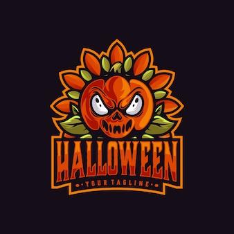 ハロウィーンのマスコットのロゴのテンプレート