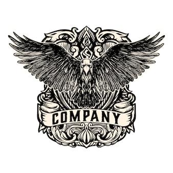Старинный орел логотип вектор