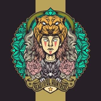 Логотип красивых охотников
