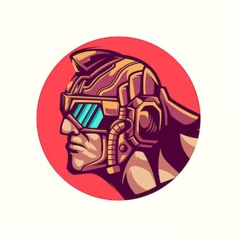 頭のヒーローのロゴのベクトル