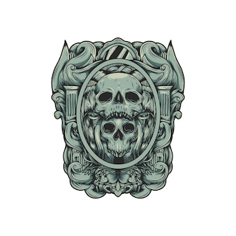 頭蓋骨のロゴのベクトル