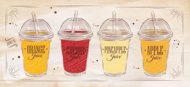 Плакат набор соков ретро