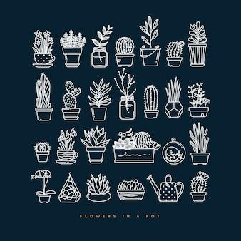 暗い青色の背景に描画するポットのアイコンフラットセット植物