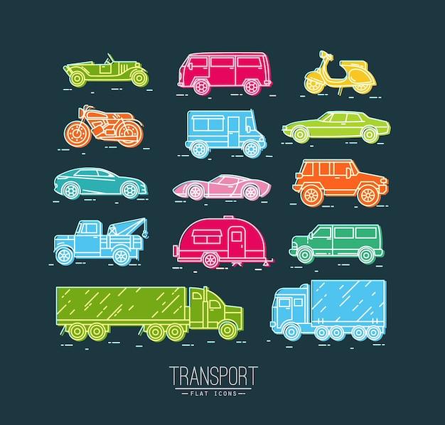フラットスタイルの車、モト、トラック、色付きのスクーターの描画で輸送アイコンのセット