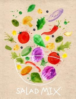 ポスターサラダミックスは、抽象的な水彩画に描かれたボウルに注ぐ