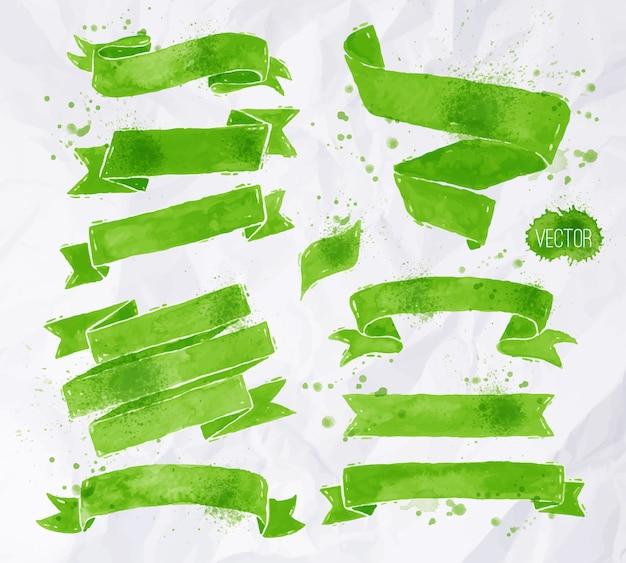 緑色の水彩リボン