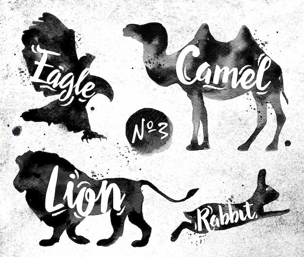 動物のラクダ、イーグル、ライオン、ウサギのシルエット