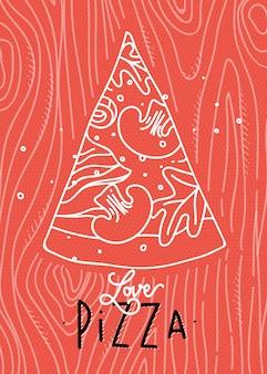 珊瑚の背景に灰色の線を描くポスターレタリング愛のピザ