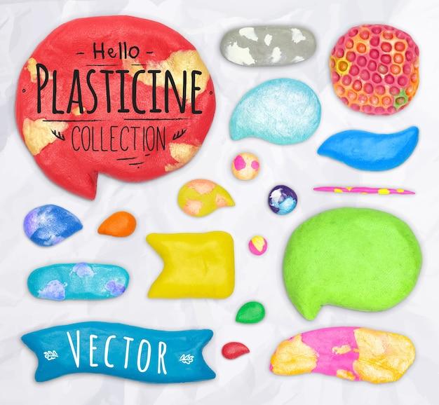 Набор векторных элементов пластилинового дизайна, вымощенных вместе