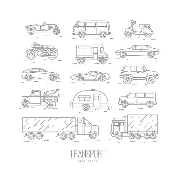 フラットスタイルのトランスポートアイコンのセット