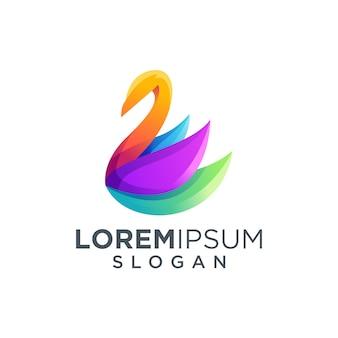Красочный логотип лебедя