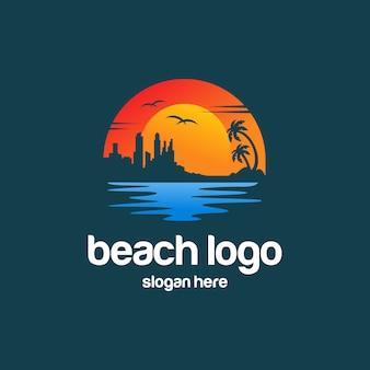 ビーチ夏のロゴ