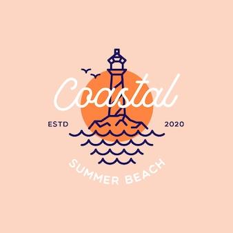 レトロな灯台の夏のビーチのロゴ