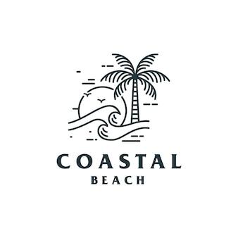Винтажный дизайн логотипа прибрежного пляжа