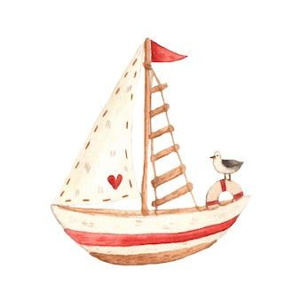 水彩ベクトルボート夏イラストかわいいクリップアート海ミュウカモメ海洋航海夏海海ビーチ