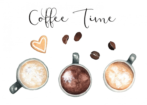 コーヒーの水彩画クリップアート