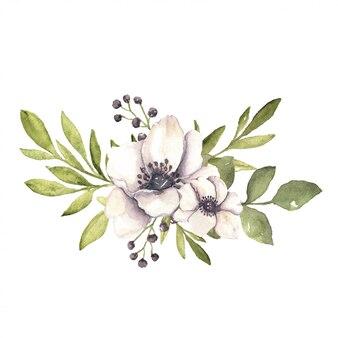 Акварельная цветочная ботаническая композиция