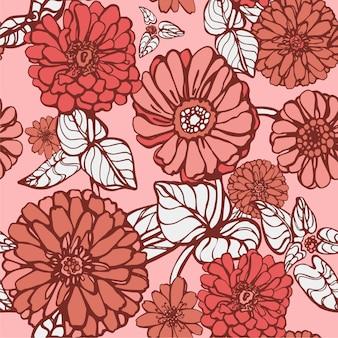 リビングカラーの花のベクトルパターン