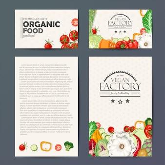 野菜とベクトルカードのセット
