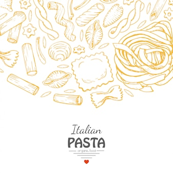 イタリアのパスタのベクトルの背景