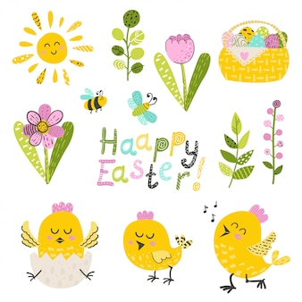Набор пасхальных куриц и цветов
