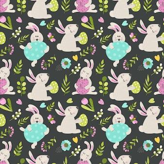 イースターのウサギとのシームレスなパターン
