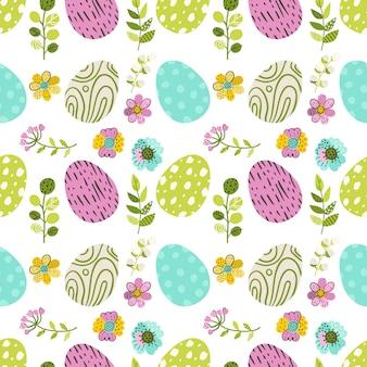 卵と緑のハーブのシームレスパターン