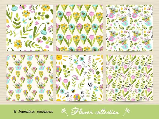 Набор бесшовные модели с яркими цветами и листьями