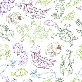 海の動物とのシームレスなパターン