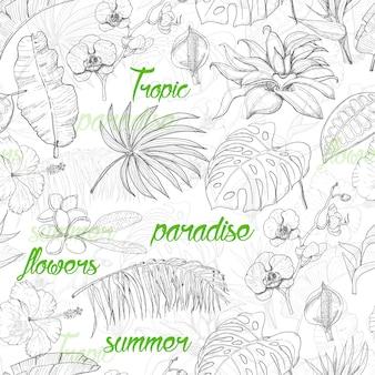 Бесшовный фон с тропическими растениями и цветами