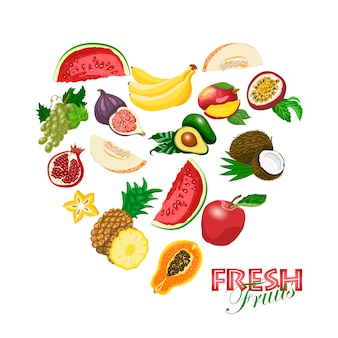 新鮮な果物で作られた孤立した心