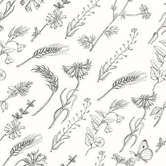 Бесшовный фон с дикими травами