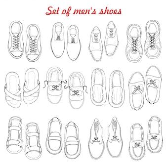 白い背景の上の男性の靴のセット